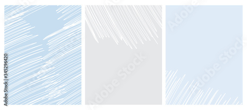 Abstract Geometric Seamless Vector Pattern and 2 Layouts. White Irregular Hand Drawn Scribbles on Light Blue and Light Gray Backgrounds. Funny Simple Creative Design. Infantile Style Striped Graphic.