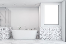 White Mosaic Bathroom With Tub...