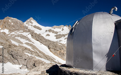 Mountain refuge in Picos de Europa is a small metal capsule of antiaircraft battery of American aircraft carriers Wallpaper Mural
