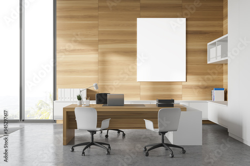 Fototapeta White and wood CEO office with poster