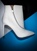 White Stiletto Boot With Silve...