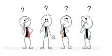 Thinking Little Men. Vector Stickman Cartoon Character Illustration.