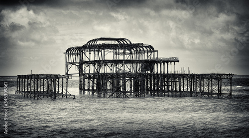 Photo Brighton Pier burned down after arson.