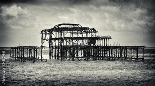 Brighton Pier burned down after arson. Wallpaper Mural