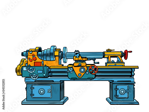 Photo lathe, industrial mechanism apparatus machine