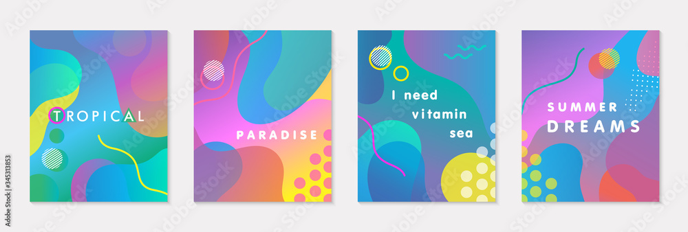 Fototapeta Bundle of modern vector summer posters with bright gradient background,shapes and geometric elements.Trendy abstract design perfect for prints,social media,banners,invitations,branding design,covers