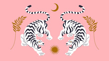 Vector Card With Chinese Tigers In Boho Asian Style. Beautiful Animal Print Design. For Fabric, Wall Art, Interior Design, Social Media Post, Packaging. Floral Branch, Crescent Moon, Star, Magic.