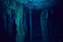 Underwater Cave Stalactites La...