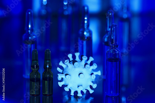 ampoules medicine vaccine concept, abstract background, vaccination virus protec Wallpaper Mural