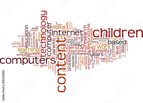 Word Cloud Summary of Do we introduce computers to children Article Fototapet