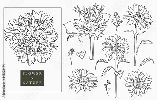 Black sunflower logo collection with leaves,geometric.Vector illustration for icon,logo,sticker,printable and tattoo