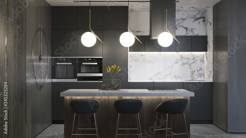 Fototapeta Green plant on concrete table in dark kitchen of contemporary luxury apartment. White painting mock up. 3d  obraz