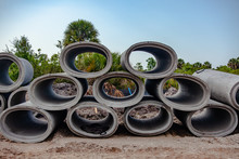 Concrete Sewer Pipes Are Stack...