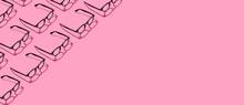 Many Black Hipster Eyeglasses On Pastel Pink Abstract Background Border Frame. Fashionable Eyewear Concept.