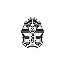 Funerary Mask Of Tutankhamun Vector Line Icon