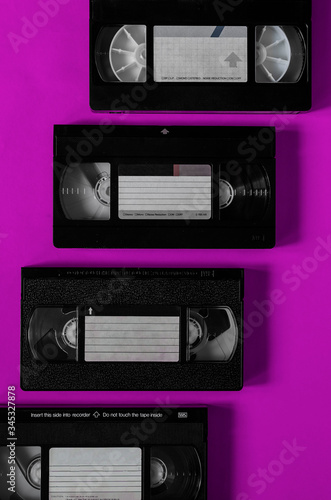 Four plastic video cassettes with a family video archive. Canvas Print