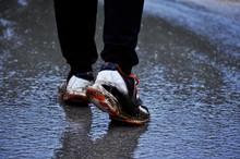 Man Feet Wearing Old And Broke...