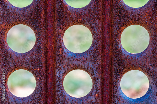 Texture of old rusty perforated metal Canvas Print