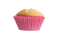 Isolated Cupcake In Pink Spotted Paper Cup