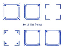 Set Of Watercolor Blue Frames. Ornaments For Tiles