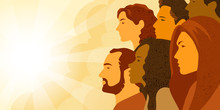 Vector Illustration Of Multinational Group Of People - Men And Women Looking Into The Distance. Concept Of Hope, Concern About Changing Of The Climate And Planning Of Future.