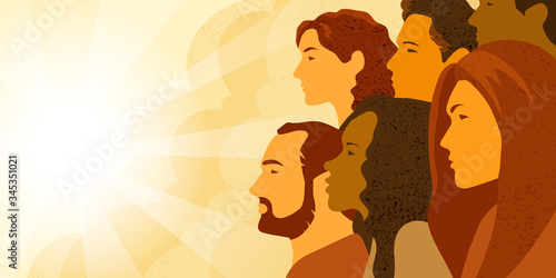 Photo Vector illustration of multinational group of people - men and women looking into the distance