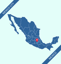 Mexico Map With Capital Mexico...
