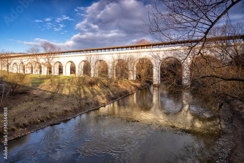 Photo Reflection of the Rostokinsky aqueduct in Moscow
