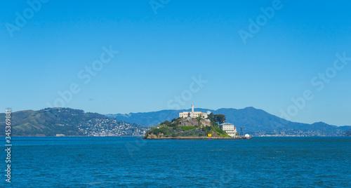 Obraz na plátně Alcatraz Prison Island in San Francisco Bay, offshore from San Francisco, Califo