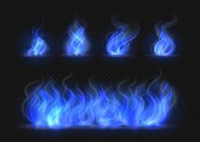 Realistic Blue Fire Flames Set...