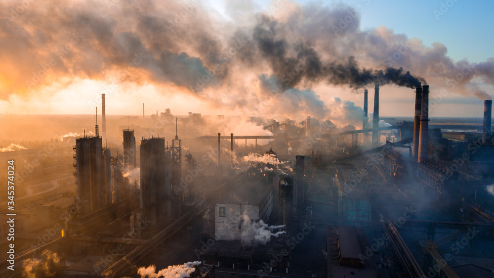 Fototapeta industry metallurgical plant dawn smoke smog emissions bad ecology aerial photography