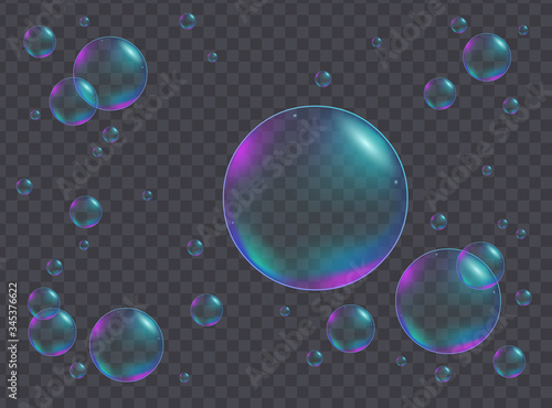 Vászonkép Realistic iridescent bubbles of different sizes giving a receding perspective ov