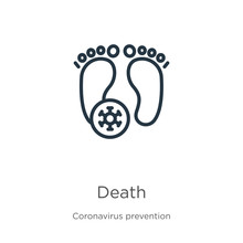 Death Icon. Thin Linear Death Outline Icon Isolated On White Background From Coronavirus Prevention Collection. Modern Line Vector Sign, Symbol, Stroke For Web And Mobile