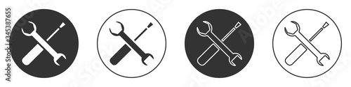Black Screwdriver and wrench spanner tools icon isolated on white background Billede på lærred