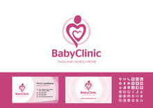 Pregnancy And Prenatal Care. Baby And Child Clinic. Mother And Love, Happy Mothers Day, Mom Heart Care Logo With Business Card Template Vector