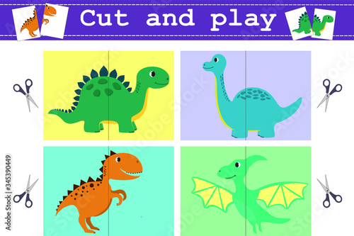 Education Game Cut and play with funny dinosaurus Canvas Print