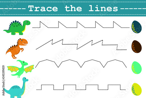 Photo Trace line worksheet for kids with funny dinosaurus and eggs