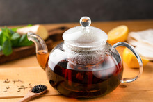 Glass Tea Pot With Black Tea O...