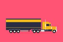 Big Semi Truck. Vector Flat Tr...
