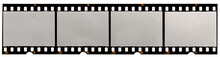 Long 35mm Filmstrip On White, Picture Placeholder With Empty Or Blank Frames.