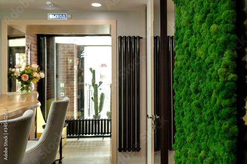 Fotografia Decorative wall of green moss in a beauty salon