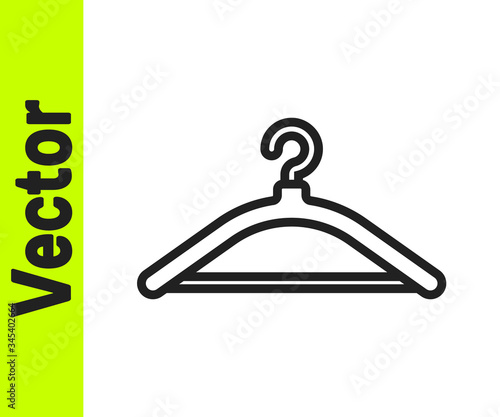 Valokuva Black line Hanger wardrobe icon isolated on white background