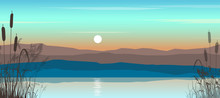 Beautiful Evening Landscape With Sunset On The River.Vector Illustration With Hills, River And Reeds.