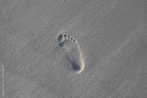 Fototapeta Śład małej stopy na plażowym  piasku