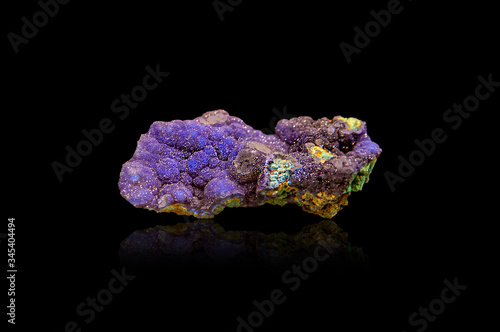 Mineral azurite on a black background Canvas Print