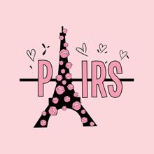 Paris Kiss Text Line City Heart Love Pink Black Girl Tee Illustration Art Vector