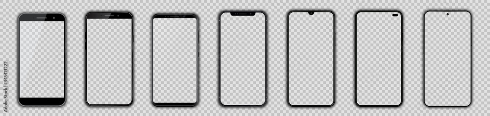 Fototapeta Set different black models smartphone with empty touch screen, model mobile - vector