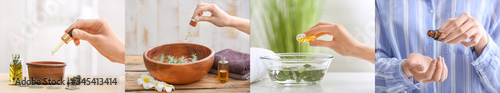Obraz Collage of photos with woman using essential oils - fototapety do salonu