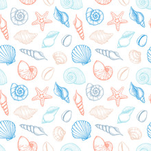 Hand Drawn Vector Illustrations - Seamless Pattern Of Seashells. Marine Background. Collection Of Shells And Starfishs. Perfect For Fabric, Textile, Linens, Invitations, Posters, Prints, Banners