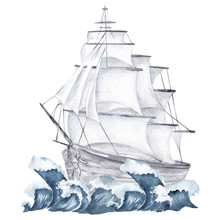 Watercolor Marine Frame With Ship And Flowers Isolated On White Background